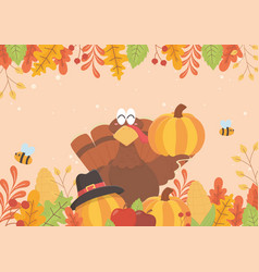 happy thanksgiving turkey holding pumpkin bees and vector image