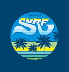 hawaii surf - badge logo vector image