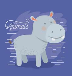 Hippopotamus animal caricature in color background vector