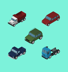 Isometric automobile set of freight armored vector