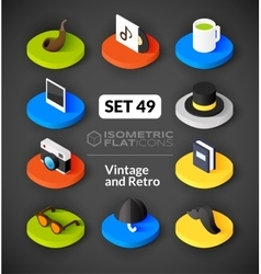 Isometric flat icons set 49 vector image