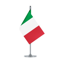 Italian flag hanging on the metallic pole vector