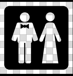 Just married persons rounded square vector