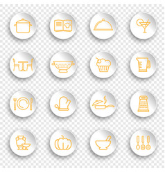 kitchen and cooking icons on stickers with vector image