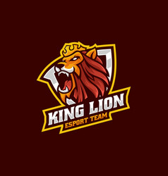 logo king lion e sport and sport style vector image