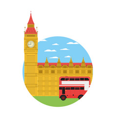 London clock tower and urban bus vector