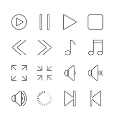 Media player set icon outline music collec vector