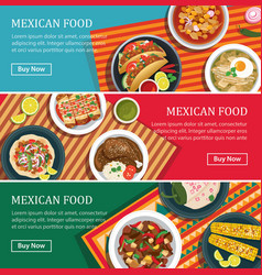 Mexican food web banner flat design vector