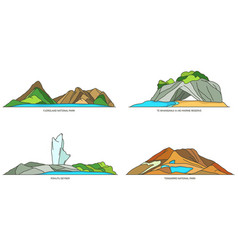 New zealand natural landmarks and national parks vector
