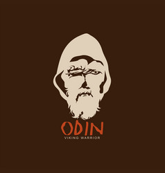 Odin old peasant nordic viking god head vector
