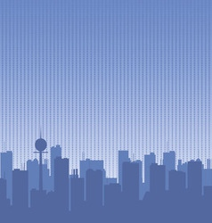 Original contour of the big city on a blue vector image