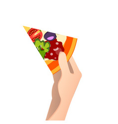 piece of pizza in a hand vector image