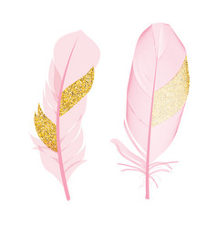 Pink and golden glitter painted birds of feather vector