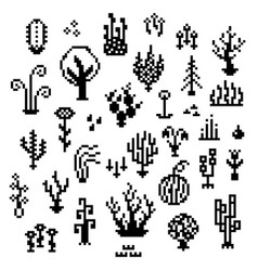 pixel art plants 8 bit monochrome vegetation vector image