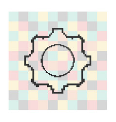 pixel icon cog on a square background vector image
