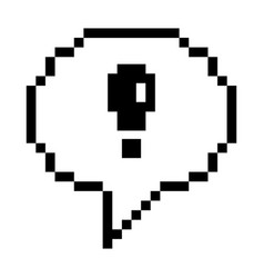Pixel speech bubble with exclamation mark vector