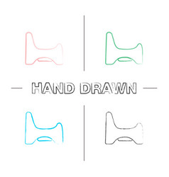 Potty chair hand drawn icons set vector