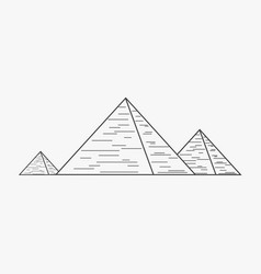 pyramids flat black outline design icon vector image