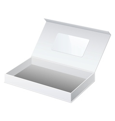 Realistic White Package Cardboard Box Opened For vector image