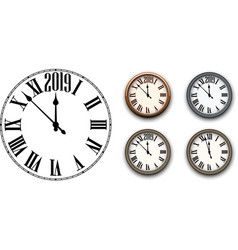 round 2019 new year clock isolated on white vector image