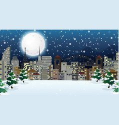 scene with buildings in winter time vector image