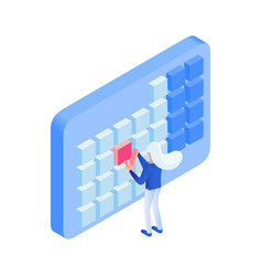 Scheduling events metaphor isometric vector