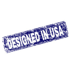 scratched designed in usa framed rounded rectangle vector image