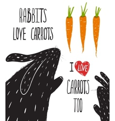 Scratchy Rabbits Love Carrots Lettering vector