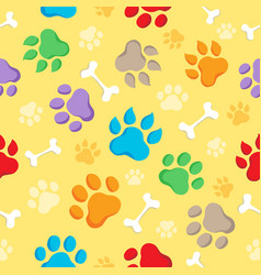 Seamless background with paws 1 vector