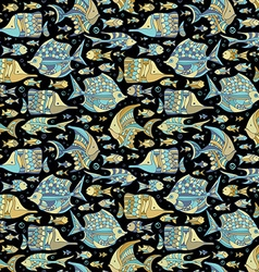 seamless ocean fish pattern vector image