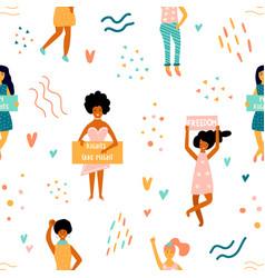 seamless pattern striking women vector image