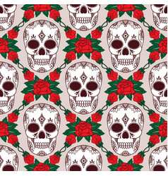 seamless pattern with skulls and roses vector image