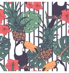 Seamless pattern with toucans pineapple and vector image