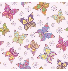 seamless pattern witn colorful butterflies vector image
