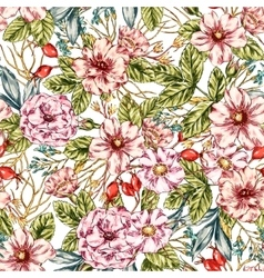 Seamless Wild rose Pattern vector