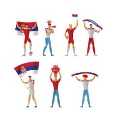 Serbia football fans cheerful soccer vector
