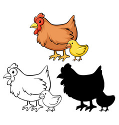 Set chicken cartoon vector