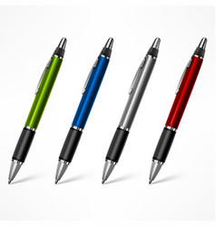 Set colored pens on white vector