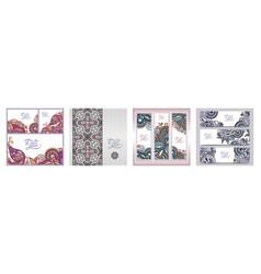 set decorative flower template banner card vector image