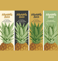 set labels for pineapple juice in retro style vector image