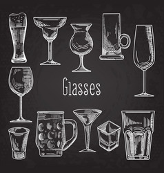 Set of different drink glasses stemware vector