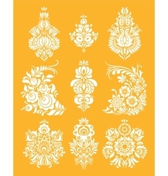 Set of flowers and floral composition in vector