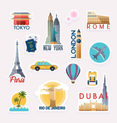 set travelling stickers stickers and elements vector image