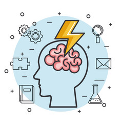 silhouette head brain brainstorm idea knowledge vector image