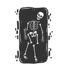 Skeleton in grave sketch vector