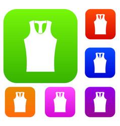 Sleeveless shirt set color collection vector