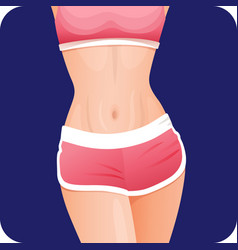 Slim fitness girl abs in sportswear belly stomach vector