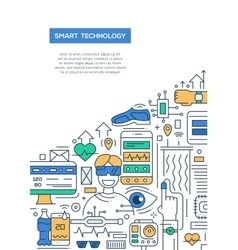 Smart Technology - line design brochure poster vector image