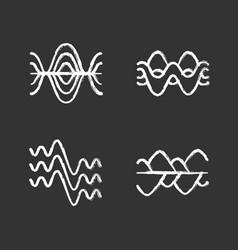 Sound waves chalk icons set vibration noise vector