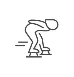 speed skating line outline icon vector image